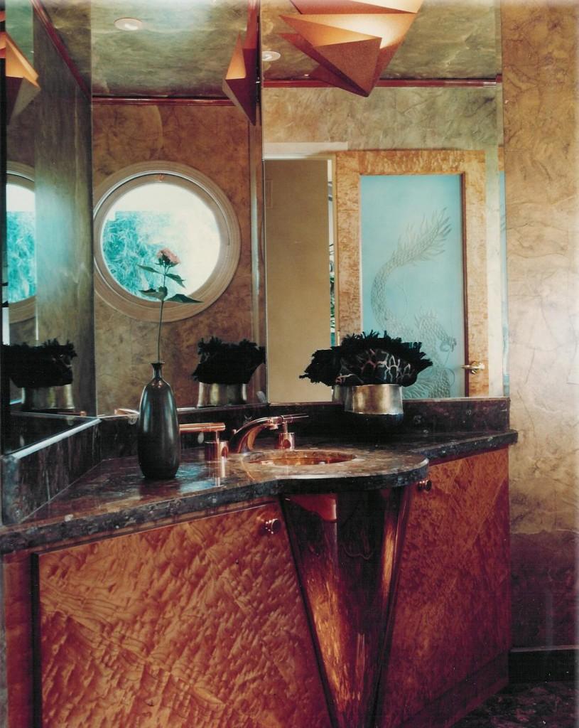 figured cherry wood bath vanity custom crafted by design in wood