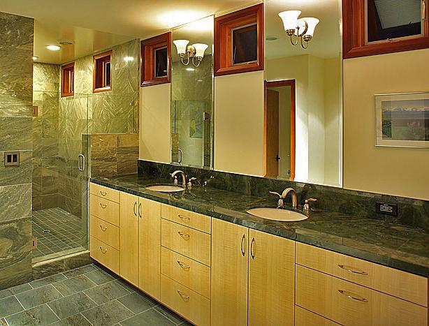 figured ash bath vanity custom crafted by design in wood