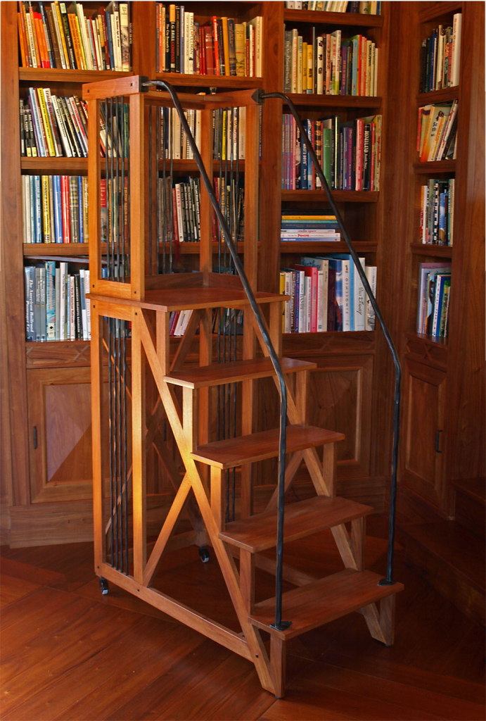 Library Ladder - custom woodwork by Design in Wood, Petaluma, CA. Andrew Jacobson - (707) 765-9885