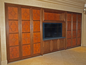 Palo Alto Media Wall - custom woodwork by Design in Wood, Petaluma, CA. Andrew Jacobson - (707) 765-9885