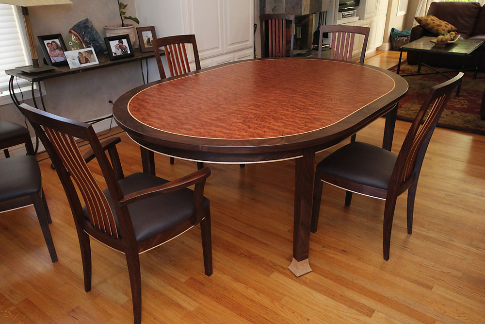 Rockridge Dining Set - custom woodwork by Design in Wood, Petaluma, CA. Andrew Jacobson - (707) 765-9885
