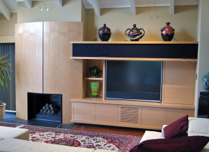 Sonoma TV Cabinet and Hearth - custom woodwork by Design in Wood, Petaluma, CA. Andrew Jacobson - (707) 765-9885