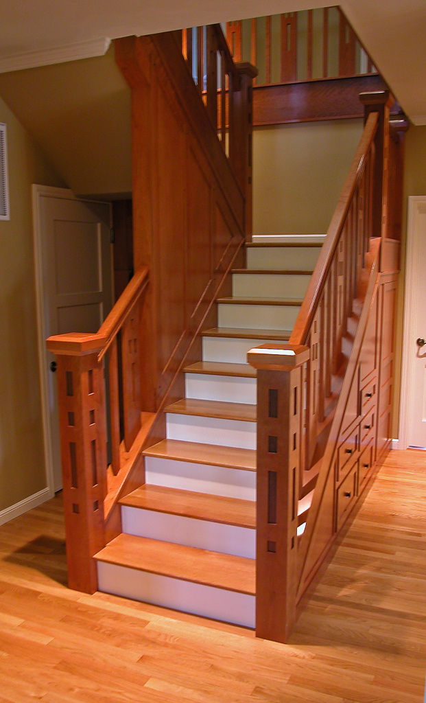 Arts & Crafts Stairway by Design in Wood, Andrew Jacobson, Petaluma, Ca