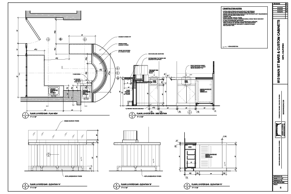 Shop Drawings for custom woodwork bar installation